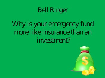 Personal Finance Bell Ringers PowerPoint Slides