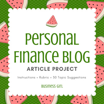 Personal Finance Blog Article Project with Topic List