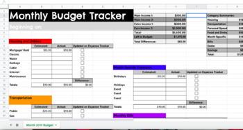 Personal Finance Budget Tracking Sheet- Google Sheets