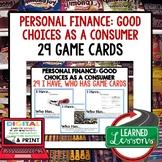 Personal Finance Consumer Choices GAME CARDS (Economics & Free Enterprise)