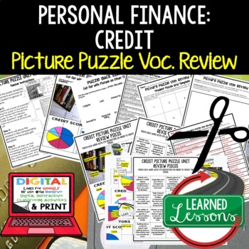 Personal Finance, Credit Picture Puzzle, Test Prep, Unit Review, Study Guide
