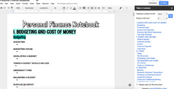 Personal Finance Digital Notebook