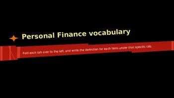 Personal Finance Economics Vocabulary Terms Definitions editable