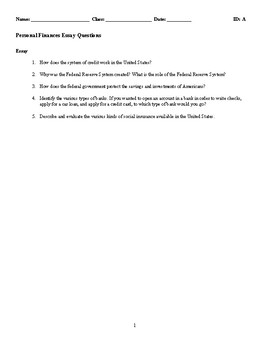 Personal Finance Discussion/Essay Questions