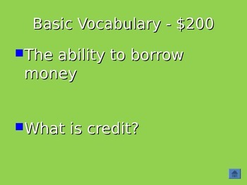 Personal Finance Jeopardy Review Game