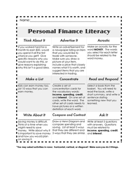 Personal Finance Literacy Think-Tac-Toe