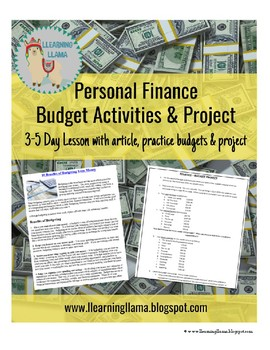 personal finance mini lesson budget project by llearning llama tpt