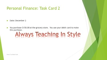 Personal Finance with Task Cards (Editable)