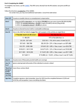 Personal Finance Project: Completing a 1040EZ