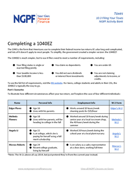 Personal Finance Project: Completing a 1040EZ by Next Gen ...