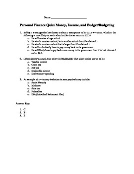 personal finance quiz money income and budgets budgeting by nick