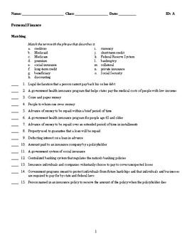 Personal Finance Test