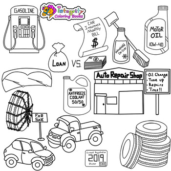 Personal Finance Clip Art - Vehicle Expense Set