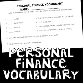Personal Finance Vocabulary Check