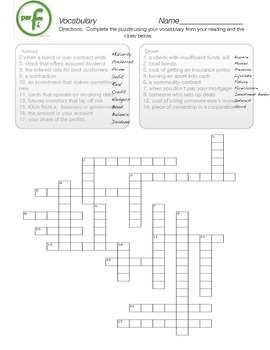 Personal Finance Vocabulary Crossword