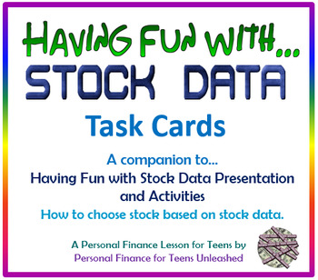 Having Fun with Stock Data Task Cards (Financial Literacy)