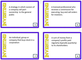 Intro to Investing in the Stock Market Task Cards (Financial Literacy)