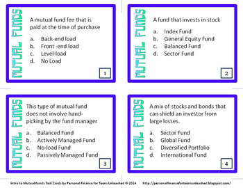 Intro to Mutual Funds Task Cards (Financial Literacy)