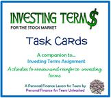Investing Terms Task Cards (Financial Literacy)