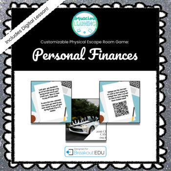 Personal Finances (Economics) Customizable Escape Room / Breakout Game