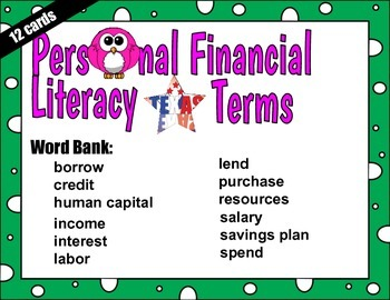 Personal Financial Literacy - 12 QR cards for VOCABULARY