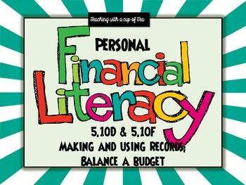Personal Financial Literacy- 5th grade (Keeping Records//Balance a Budget)