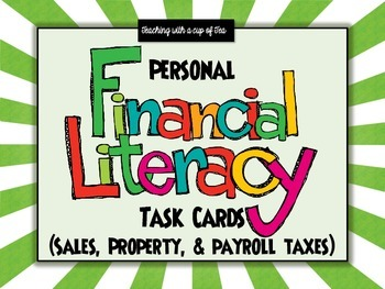 Personal Financial Literacy: 5th grade task cards (5.10A taxes)