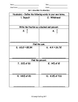 Personal Financial Literacy - (6th Grade Math TEKS 6.14A-H)