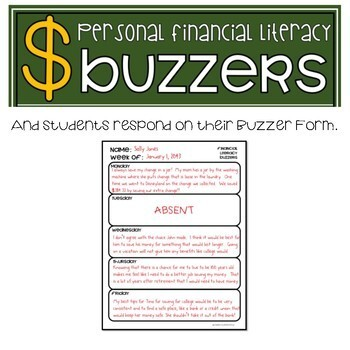 Financial Literacy - BUDGETING - Bell Work & Prompts