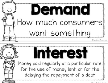 Personal Financial Literacy [Economics] Vocabulary Posters
