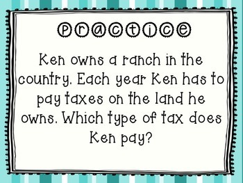 Personal Financial Literacy Identifying Taxes TEKS 5.10A