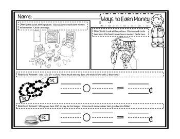 Personal Financial Literacy Kindergarten (Texas)
