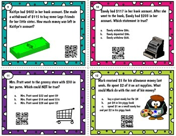 Personal Financial Literacy QR Task Cards Tek 2.11A-C