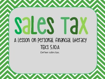 Personal Financial Literacy - Sales Tax PowerPoint