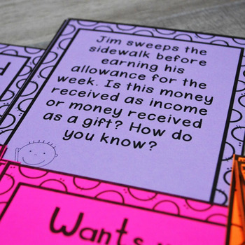 Personal Financial Literacy Scenario Cards: Kinder & First (Income, Spending)