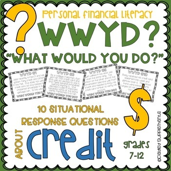 Personal Financial Literacy Credit Card Scenario Writing Activity Prompts on HS
