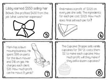 Personal Financial Literacy TEKS 4.10B Profit Task Cards