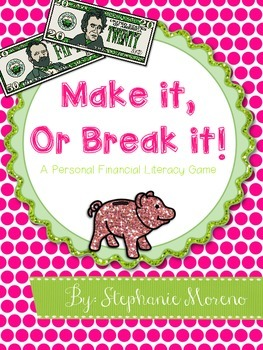 Personal Financial Literacy TEKS Savings Goal Plan Game