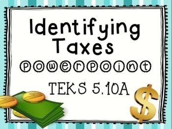Personal Financial Literacy Taxes TEKS 5.10A BUNDLE