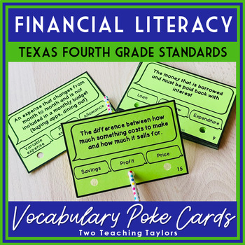 Personal Financial Literacy Vocabulary Poke Cards