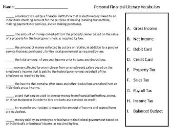 Personal Financial Literacy Vocabulary Quiz