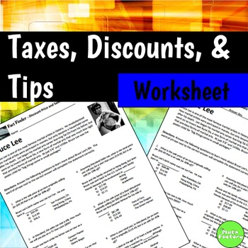 Sale Price Sales Tax Percent Off Fact Finder Worksheet