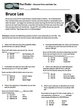 Sale Price Sales Tax Percent Off Fact Finder Worksheet by The Math ...