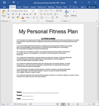 Personal Fitness Plan - Includes Plan, Web quest, and Reflection