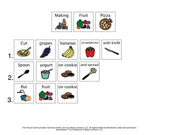 Personal Fruit and Veggie Pizza Unit (Shopping/Lists & Visual Recipes)