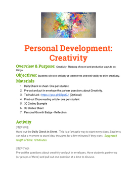 Personal Growth: Creativity Badge