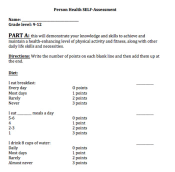 Personal Health Self-Assessment and Activity