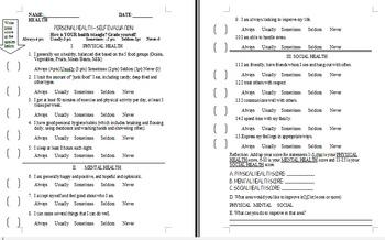 Personal Health Self-Evaluation Assessment (Grades 6-12) English & Spanish