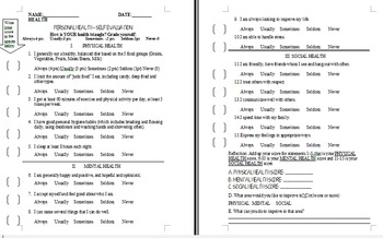 Personal Health Self-Evaluation Assessment (Grades 6-12) E
