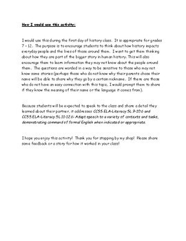 Personal History Introduction/Interview